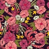 Floral ζούγκλα με το άνευ ραφής σχέδιο φιδιών, τα τροπικά λουλούδια και τα φύλλα, βοτανικό χέρι που σύρεται δονούμενο ελεύθερη απεικόνιση δικαιώματος
