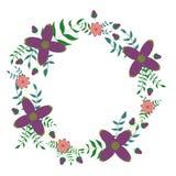 Floral διακοσμητική απεικόνιση στεφανιών Στοκ Φωτογραφία