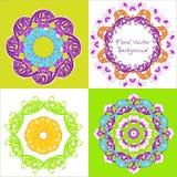 floral διακοσμητικός κύκλος προτύπων Σύνολο διακόσμησης τέσσερα Διανυσματικό IL Στοκ φωτογραφία με δικαίωμα ελεύθερης χρήσης