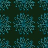 Floral διακόσμηση σε ένα σκοτεινό υπόβαθρο, άνευ ραφής σχέδιο Στοκ Εικόνες