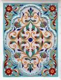 Floral διακόσμηση στα κεραμίδια Στοκ Φωτογραφίες
