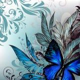 Floral διανυσματική απεικόνιση με τα λουλούδια και τη διακόσμηση Στοκ φωτογραφία με δικαίωμα ελεύθερης χρήσης