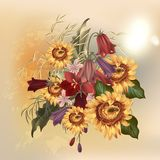 Floral διανυσματικό σχέδιο μόδας με τα λουλούδια Στοκ Εικόνα