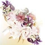 Floral διανυσματικό υπόβαθρο με τα τριαντάφυλλα και άλλα λουλούδια Στοκ φωτογραφία με δικαίωμα ελεύθερης χρήσης