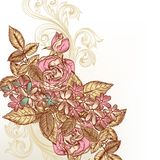 Floral διανυσματικό υπόβαθρο με τα τριαντάφυλλα Στοκ φωτογραφία με δικαίωμα ελεύθερης χρήσης