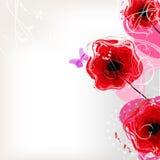 Floral διανυσματικό υπόβαθρο με τις κόκκινες παπαρούνες Στοκ Εικόνες