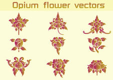 Floral διανύσματα σχεδίων οπίου στο άσπρο υπόβαθρο Στοκ Φωτογραφίες