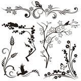 floral ιαπωνική σειρά σχεδίου Στοκ Εικόνες