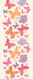 Floral κάθετο άνευ ραφής σχέδιο πεταλούδων Στοκ Εικόνες