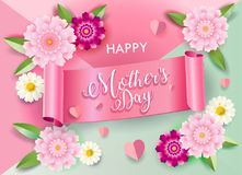 Floral κάρτα διακοσμήσεων ανθών χαιρετισμού ημέρας μητέρων ` s απεικόνιση αποθεμάτων