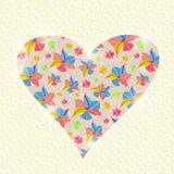 Floral κάρτα ημέρας βαλεντίνων πρόσκλησης καρδιών Στοκ εικόνα με δικαίωμα ελεύθερης χρήσης