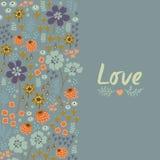 Floral κάρτα με την καρδιά Στοκ Φωτογραφίες