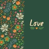 Floral κάρτα με την καρδιά Στοκ εικόνα με δικαίωμα ελεύθερης χρήσης