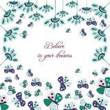 Floral κάρτα πεταλούδων Στοκ εικόνα με δικαίωμα ελεύθερης χρήσης