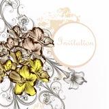 Floral κάρτα πρόσκλησης με τα λουλούδια στο εκλεκτής ποιότητας ύφος Στοκ φωτογραφία με δικαίωμα ελεύθερης χρήσης