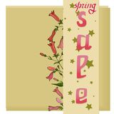 Floral κάρτα πώλησης, φυσική ανθοδέσμη των τριαντάφυλλων, βοτανική διανυσματική απεικόνιση διανυσματική απεικόνιση