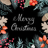 Floral κάρτα Χριστουγέννων Στοκ φωτογραφίες με δικαίωμα ελεύθερης χρήσης