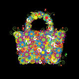 floral καλοκαίρι αγορών τσαντώ& απεικόνιση αποθεμάτων