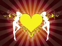 floral καρδιά κοριτσιών Στοκ Φωτογραφία