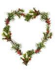 floral καρδιά πλαισίων Χριστο&upsilo Στοκ Φωτογραφία