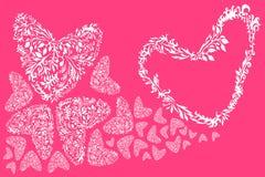Floral καρδιά αγάπης, που απομονώνεται ρομαντική Διανυσματική απεικόνιση