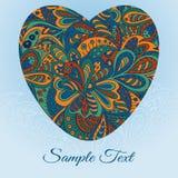 Floral καρδιά καρτών doodle Στοκ εικόνα με δικαίωμα ελεύθερης χρήσης