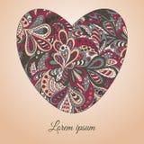 Floral καρδιά σχεδίων doodle εθνική Στοκ Εικόνες