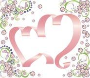 floral κορδέλλα δύο καρδιών αν&al Στοκ Φωτογραφία
