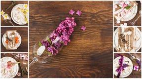 Floral κολάζ: Επιτραπέζιο σκεύος και ασημικές με τα διαφορετικά θερινά λουλούδια Στοκ φωτογραφία με δικαίωμα ελεύθερης χρήσης