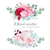 Floral μιγμάτων σύνολο σχεδίου στεφανιών διανυσματικό Στοκ Εικόνες