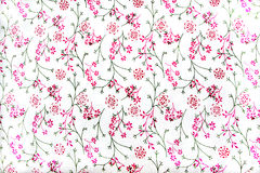 Floral μοτίβο στο άσπρο ύφασμα Στοκ Φωτογραφία