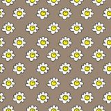 Floral μπεζ άνευ ραφής chamomile σχέδιο επίσης corel σύρετε το διάνυσμα απεικόνισης Άσπρο άνευ ραφής σχέδιο μαργαριτών σε ένα καφ διανυσματική απεικόνιση