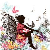 Floral νεράιδα μουσικής με τις πεταλούδες Στοκ Φωτογραφία