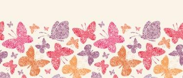 Floral οριζόντιο άνευ ραφής σχέδιο πεταλούδων Στοκ Εικόνες