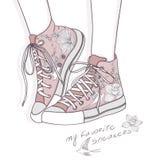floral πάνινα παπούτσια παπουτσ διανυσματική απεικόνιση