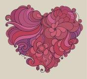 Floral περίκομψη καρδιά βαλεντίνων Διανυσματική απεικόνιση