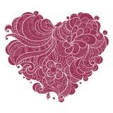 Floral περίκομψη καρδιά βαλεντίνων Απεικόνιση αποθεμάτων