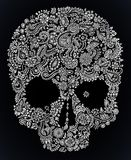 Floral περίκομψο κρανίο Doodle Στοκ φωτογραφία με δικαίωμα ελεύθερης χρήσης