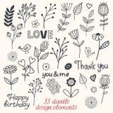 Floral περιγραμματική διανυσματική απεικόνιση doodle Στοκ εικόνα με δικαίωμα ελεύθερης χρήσης