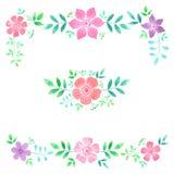 Floral πλαίσιο και ανθοδέσμη Watercolor συρμένο σχέδιο χέρι στοιχ&eps στοκ φωτογραφίες με δικαίωμα ελεύθερης χρήσης