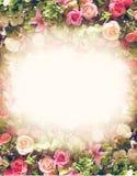Floral πλαίσιο με τα τριαντάφυλλα στο αναδρομικό ύφος Στοκ εικόνες με δικαίωμα ελεύθερης χρήσης