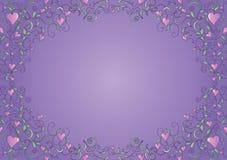 Floral πλαίσιο με τις καρδιές ελεύθερη απεικόνιση δικαιώματος