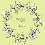 Floral πλαίσιο με callas και τα φύλλα διανυσματική απεικόνιση