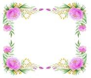Floral πλαίσιο σε Watercolor στοκ φωτογραφία