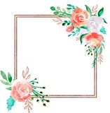 Floral πλαίσιο Watercolor με τα χρυσά σύνορα χαλκού - ανθίστε την απεικόνιση για το γάμο, επέτειος, γενέθλια, προσκλήσεις, ρομαντ ελεύθερη απεικόνιση δικαιώματος