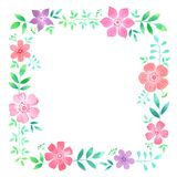 Floral πλαίσιο Watercolor Συρμένο χέρι σχέδιο πλαισίων με τα λουλούδια στοκ φωτογραφία με δικαίωμα ελεύθερης χρήσης