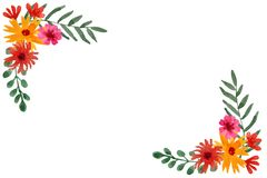 Floral πλαίσιο Watercolor των φύλλων, λουλούδια τομέων των πορτοκαλιών και κόκκινων χρωμάτων διανυσματική απεικόνιση
