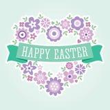 Floral πορφύρα καρδιών καρτών Πάσχας διανυσματική απεικόνιση