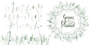 Floral πράσινος πλανήτης συνόλου διανυσματική απεικόνιση