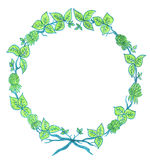floral πράσινο στεφάνι απεικόνιση αποθεμάτων